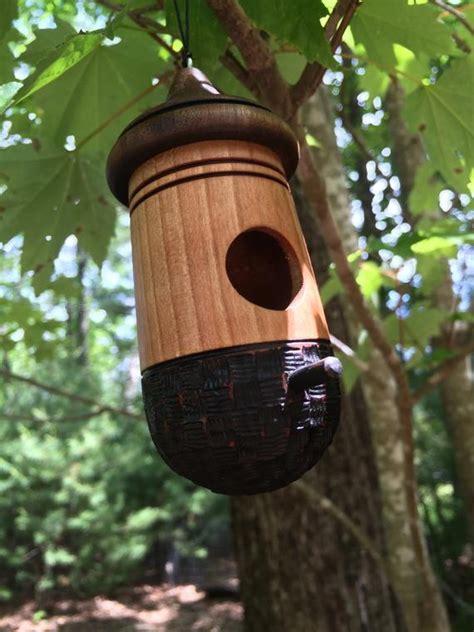 basket weave hummingbird house  turningtreeworkshop  etsy