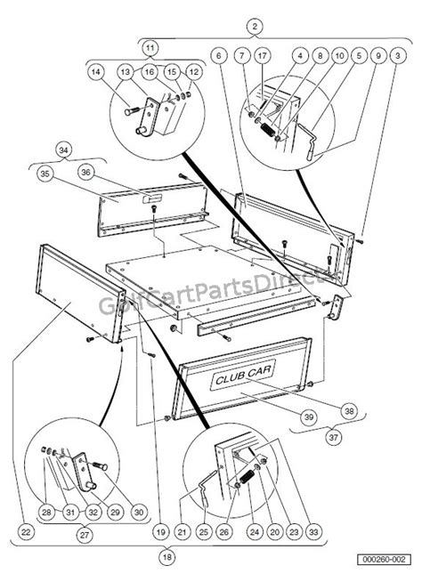 1988 Club Car Part Diagram by Cargo Box Turf Carryall 2 252 2 Xrt And 2 Plus