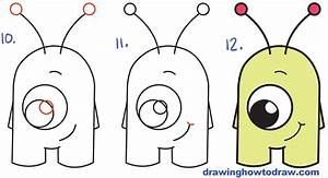 "How to Draw Cute Cartoon Alien from Numbers ""16"" Easy Step ..."