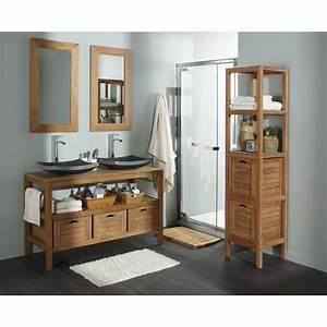 Meuble Salle De Bain Marron : meuble sous vasque en teck naturel surabaya l125xh75 ~ Dailycaller-alerts.com Idées de Décoration