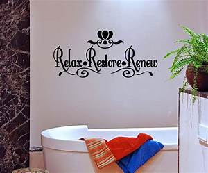 Relax restore renew vinyl wall quote mural decal bathroom for Wall art stickers for bathrooms