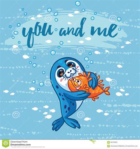 cute card  cartoon baby seal  hugs  fish stock