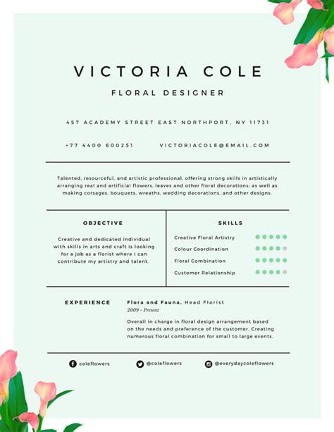 floral designer resume cover letter r 233 sum 233 templates canva