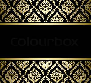Black bright card with gold pattern - vector Vector