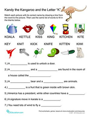 words that begin with quot k quot worksheet education 332 | words sight words spelling first
