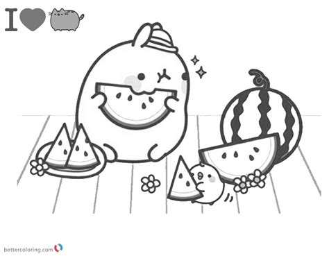 pusheen coloring pages watermelon  printable