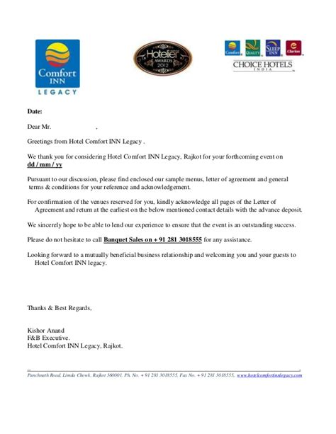 request letter  hotel contract rates sample letter