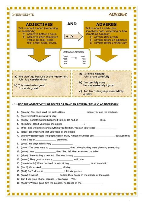 noun verb adjective adverb worksheet excelguidercom