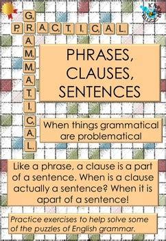 phrases clauses  sentences worksheet    buzz tpt