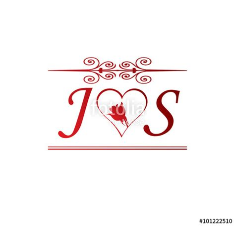 """""""JS love initial with red heart and rose"""" Stock image and"""