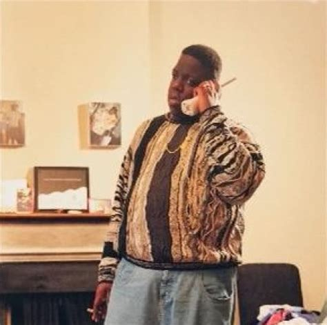 notorious big sweater notorious big on the phone rocking a coogie sweater quot who