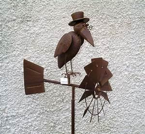 Decoration De Jardin En Fer Forgé Animaux : corbeau h lice olienne en metal trait ~ Teatrodelosmanantiales.com Idées de Décoration