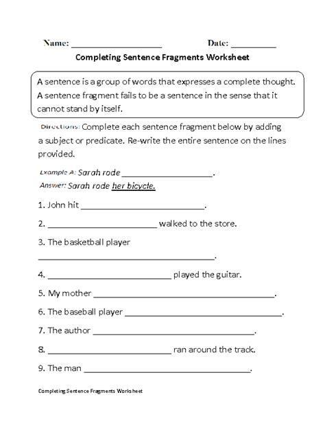 Englishlinxcom  Sentence Fragments Worksheets
