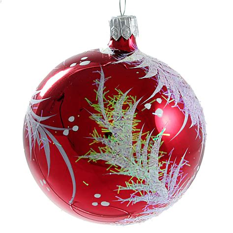 quot twig quot glass christmas ball ornament red glossy ebay