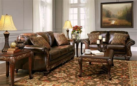 vanceton mocha brown leather traditional wood sofa