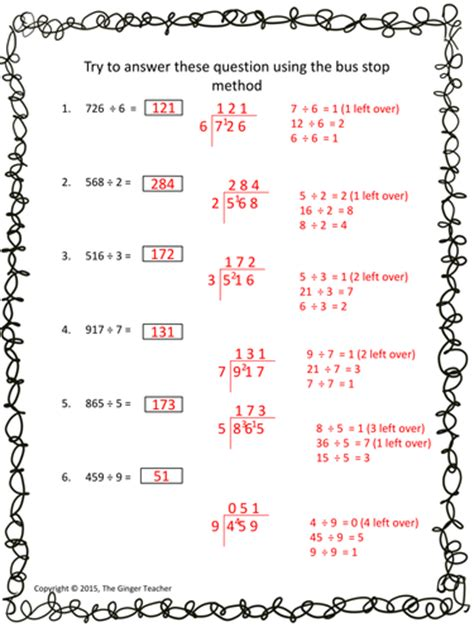 bus stop method easy long division complete math lesson by the ginger teacher uk teaching