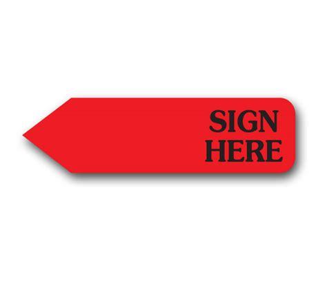 Red Horizontal Sign Here  Bulk (750)  Item #51101