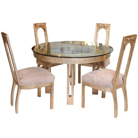silver dining table set 1960s glazed silver leaf round dining table and four chair