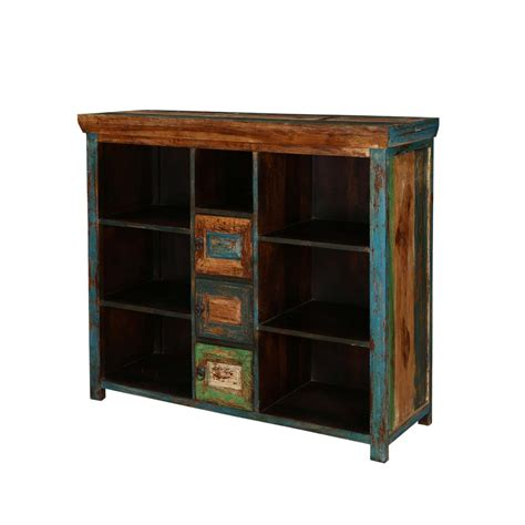 Mexico Bright 7 Shelves 3 Small Cabinets Mango Wood Buffet