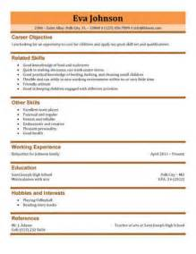 Babysitting Resume Templates by 3 Free Baby Sitter Resume Sles In Word