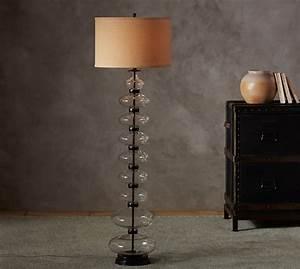 estelle stacked glass floor lamp base pottery barn With pottery barn floor lamp glass