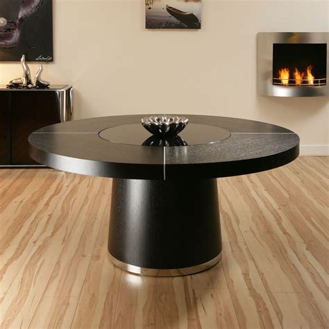 large black oak dining table glass lazy susan led