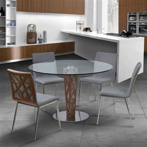 "Crystal 48"" Clear Tempered Glass Top Round Dining Room Set"