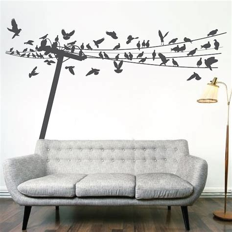 Wall Mural Decals by Birds On Wire Wall Decal Trendy Wall Designs