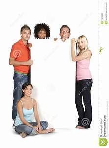 Group Of Students Holding White Board Stock Photo - Image ...