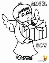 Christmas Angel Coloring Pages Boy Printable Print Boys Cool Jesus Yescoloring Fun sketch template