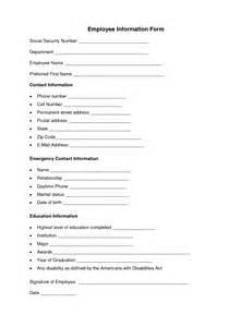 resume employer contact information employee information form employee forms