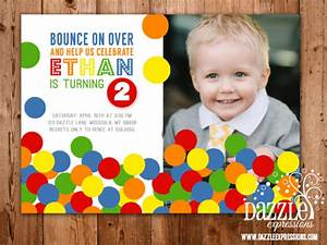Printable Bouncy Ball Birthday Photo Invitation - Ball Pit