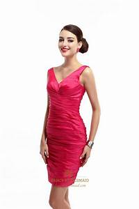 Hot Pink V Neck Embellished Ruched Sheath Cocktail Dress ...