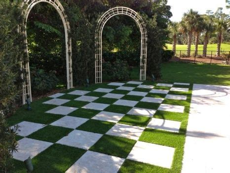 artificial grass checkerboard garden pavers rooftop
