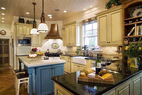 Unique Kitchen Countertop Ideas - french country kitchens ideas in blue and white colors