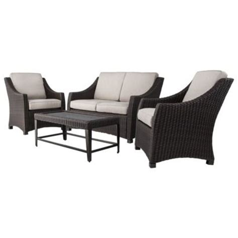 threshold belvedere wicker patio furniture set outdoors