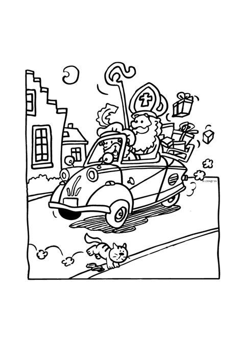 Kleurplaat Muziekpiet by Sinterklaas Met De Auto Sinterklaas Kleurplaten