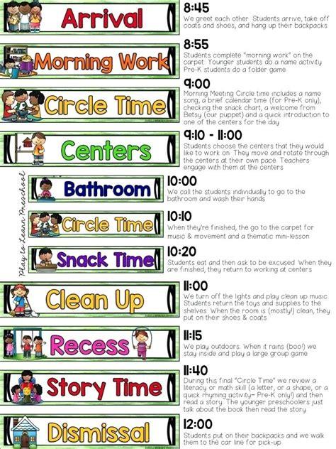 daily schedule for preschool preschool classroom schedule template 992