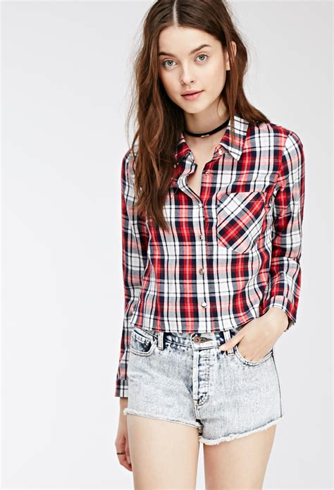cotton plaid shirt forever 21 cropped western inspired plaid shirt in lyst
