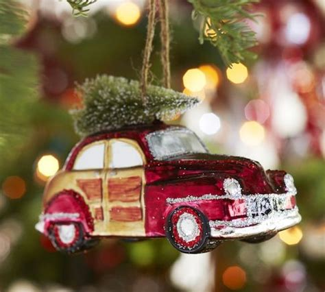 woody car glass ornament eclectic christmas ornaments