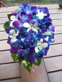 blue wedding flowers blue purple white orchid bouquet