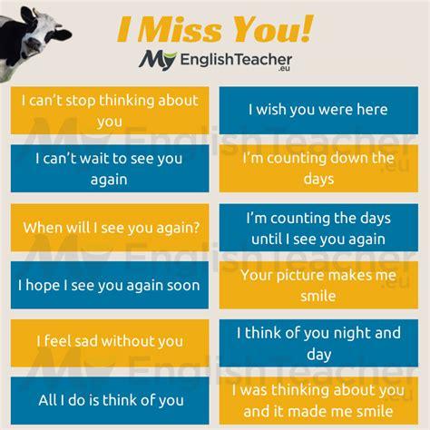 """Other Ways To Say """"i Miss You"""" Myenglishteachereu"""