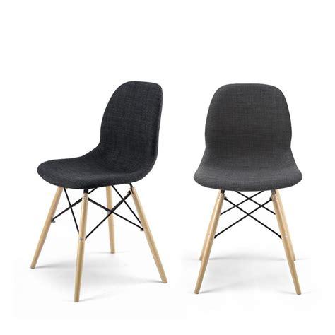 lot de 2 chaises chaise design en tissu style eames pied dsw doki doki soft