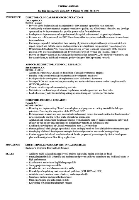 Clinical Resume Exles by Director Clinical Research Resume Sles Velvet