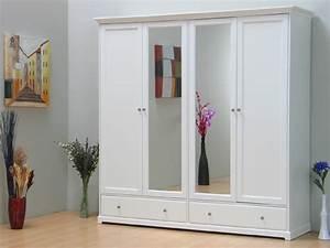 Kleiderschrank Weiß Spiegel : kleiderschrank nice schrank 4 trg mit spiegel weiss neu ebay ~ Frokenaadalensverden.com Haus und Dekorationen
