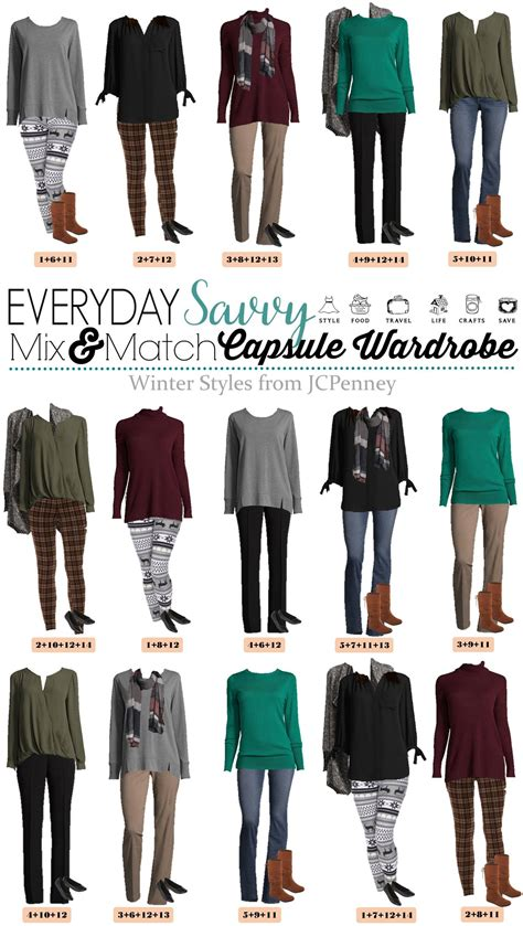 jcpenney capsule wardrobe winter mix match outfits