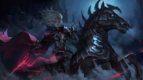 dark elf warrior riding horse   wallpaper