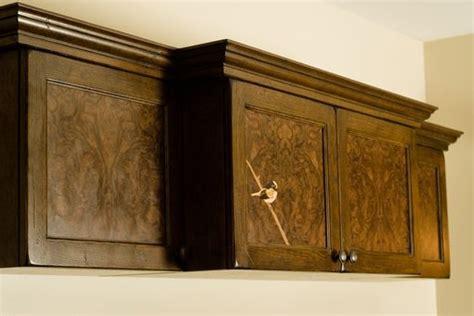 custom media cabinet   white oak  walnut burl