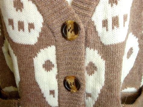 Chunky Boyfriend Wool Knit Slouchy Leather Patch Elbow Halloween Skull Cardigan