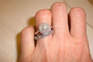 show me your wedding band engagement ring gap weddingbee With wedding bands that go with halo rings